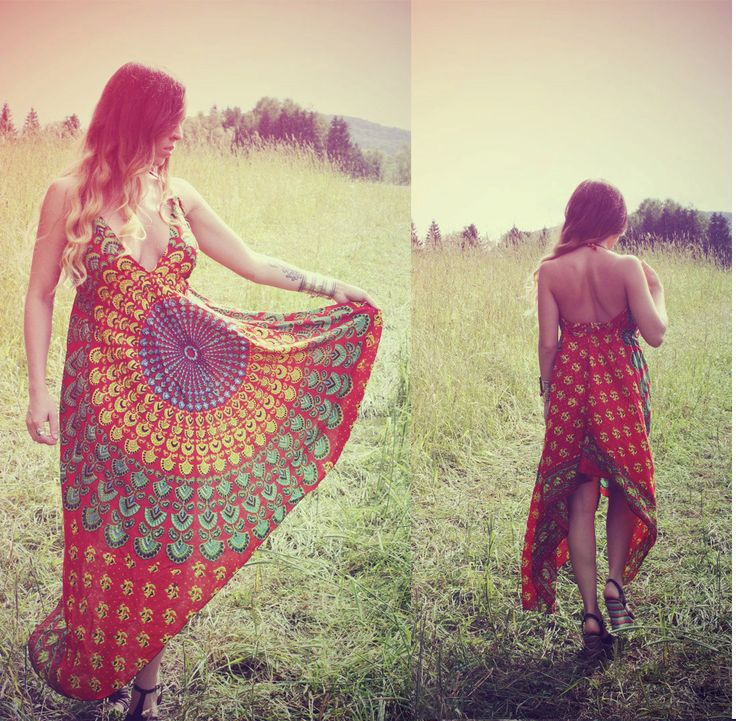 I MUST HAVE THIS>>Handmade Hippie Dress, NEW LENGTH, Festival Dress, Short Summer Dress, Bohemian, Aztec, Peacock, Bridesmaid, Maternity, Festival. $38.00, via Etsy.