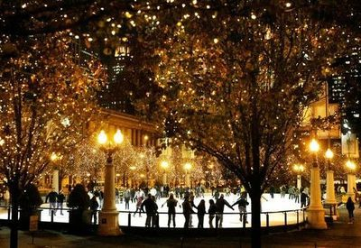Ice skating under these twinkling lights in Chicago