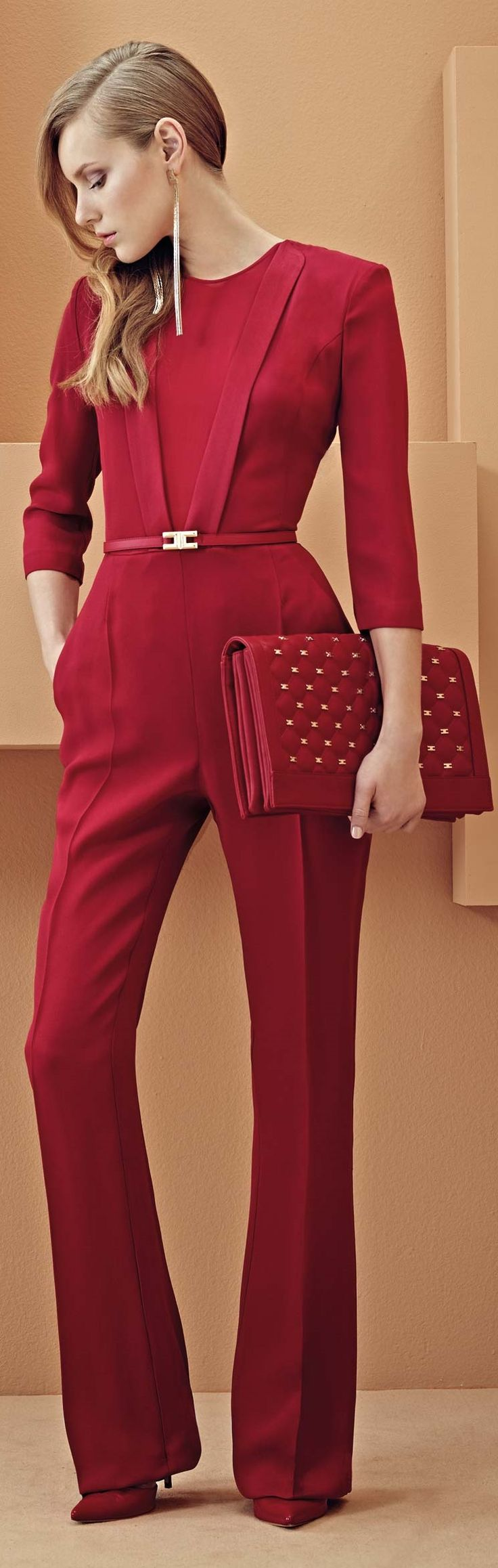 Ultra minimum in such a vibrant red color! Appropriate for so many occasions depending on how one accessories of course! :)   Elisabetta Franchi S/S 2014: Ultra minimum in such a vibrant red color! Appropriate for so many occasions depending on how one accessories of course! :)   Elisabetta Franchi S/S 2014
