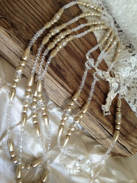 Beige Pearls Wedding lasso with silver accents/ by WEDDINGLASSOS, $90.00