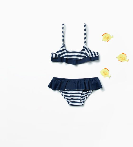 STRIPED BIKINI WITH FRILLS