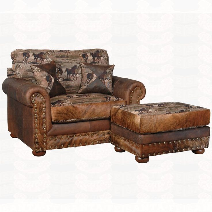 Broyhill Sofa Big Sky Collection Laramie Western Fabric leather and hair on hide oversized chair