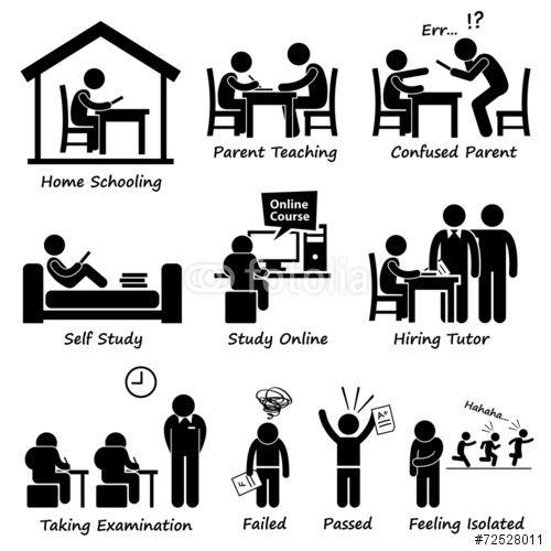 Vektor: Homeschooling Home School Education Cliparts