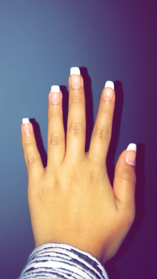 French Manicure on my own natural long nails
