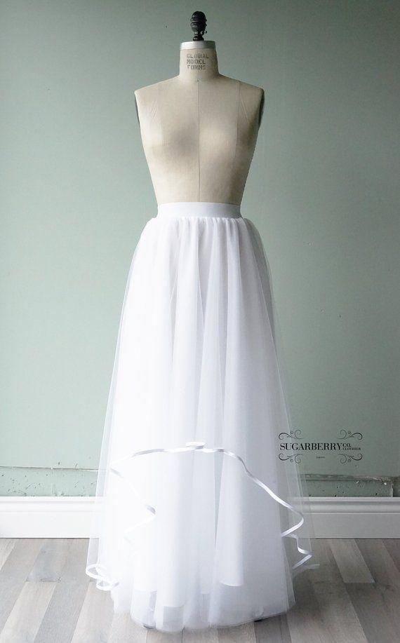 White Tulle Satin Trim Assymetrical Floor Length Tulle Tutu Skirt