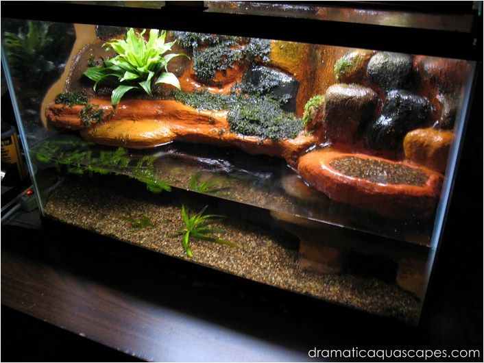 Dramatic aquascapes diy aquarium background plateau for Aquarium waterfall decoration