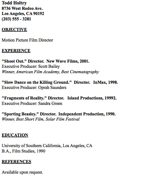 Example of FIlm Editor Resume - http://resumesdesign.com/example-of-film-editor-resume/