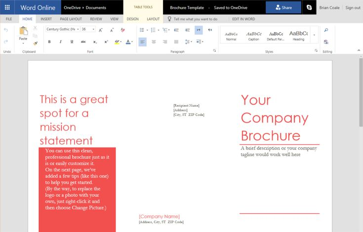 How to create a trifold brochure in word online with