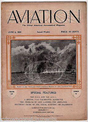 AVIATION AERONAUTICAL MAGAZINE JUNE 1924 ANTIQUE GRAPHIC ILLUSTRATED FLIGHT NEWS