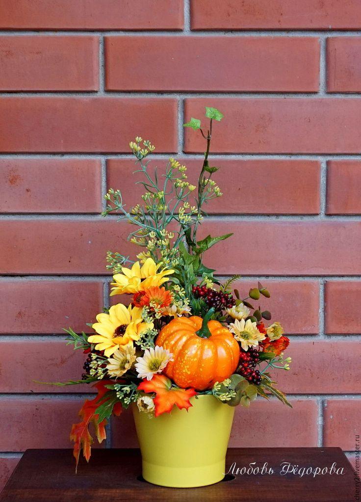 Купить Композиция с тыковкой - желтый, оранжевый, осень, тыква, осенняя…