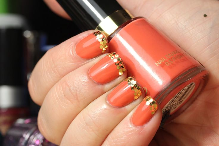 french manicure - coral nails / gold tip