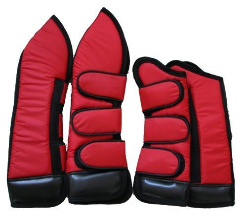 "Full Length Set of Four Horse Shipping Boots Red by AJ. Save 8 Off!. $55.00. Front boots: 21"". Hind boots: 29"". Color: Red/Black trim. Set of four full length shipping boots. Made with 420 denier durable water resistant nylon, foam padding and black fleece lining. 4"" vinyl hoof protector to safeguard the horse legs and for extra water and stain resistant. Three Jumbo Velcro closures per boot."