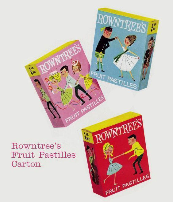 These classic boxes of Rowntrees Fruit Pastilles featured stylish dancers whose taste in clothes matched the great taste of the fruity delights inside.