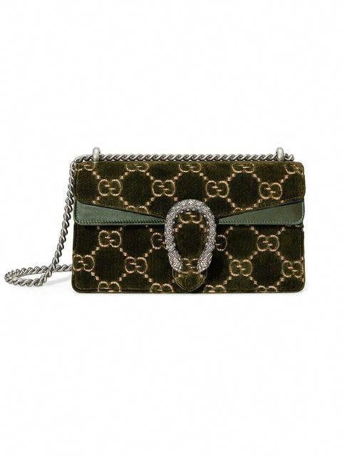 38725877e881 Shop Gucci Green Dionysus GG small velvet shoulder bag  Guccihandbags