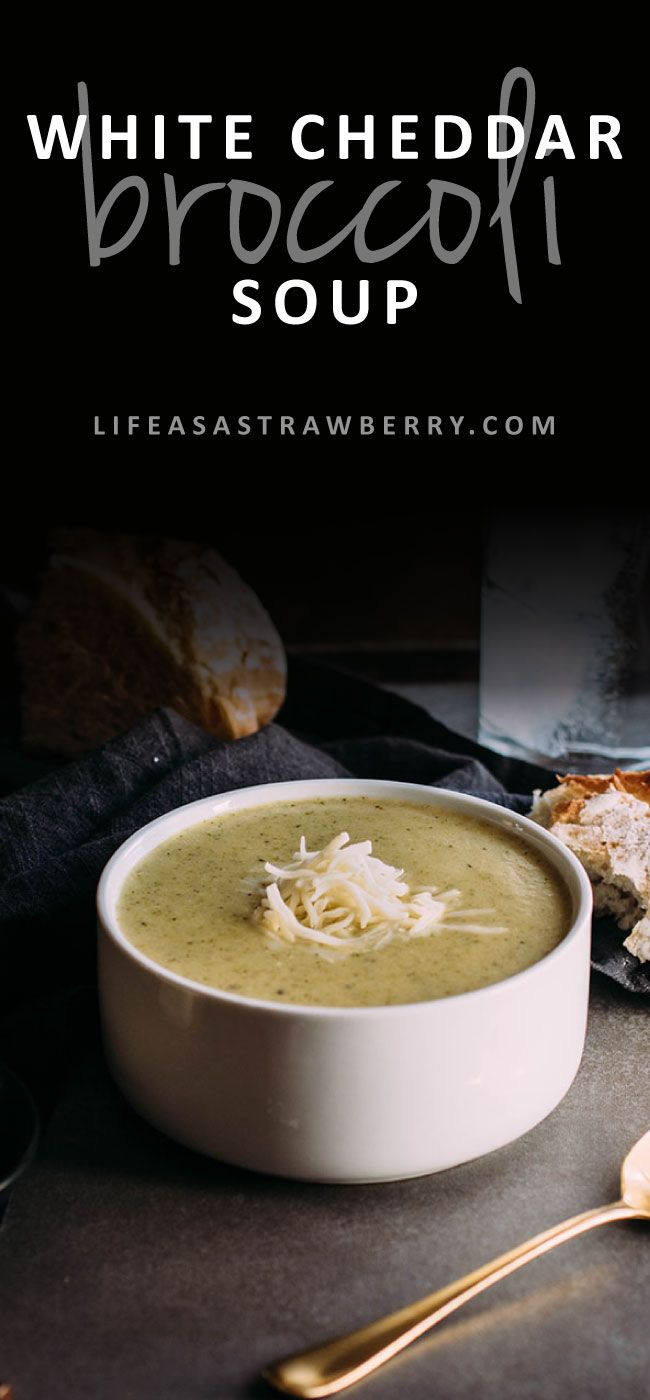 Broccoli White Cheddar Soup - This easy broccoli cheddar soup is warm, filling, and ready in under an hour! The perfect soup recipe for chilly evenings. Vegetarian.