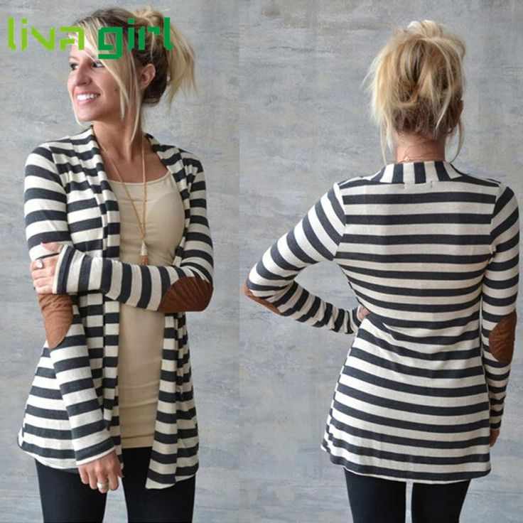 CharmDemon 2016 Women Casual Striped Cardigans Patchwork Outwear at30