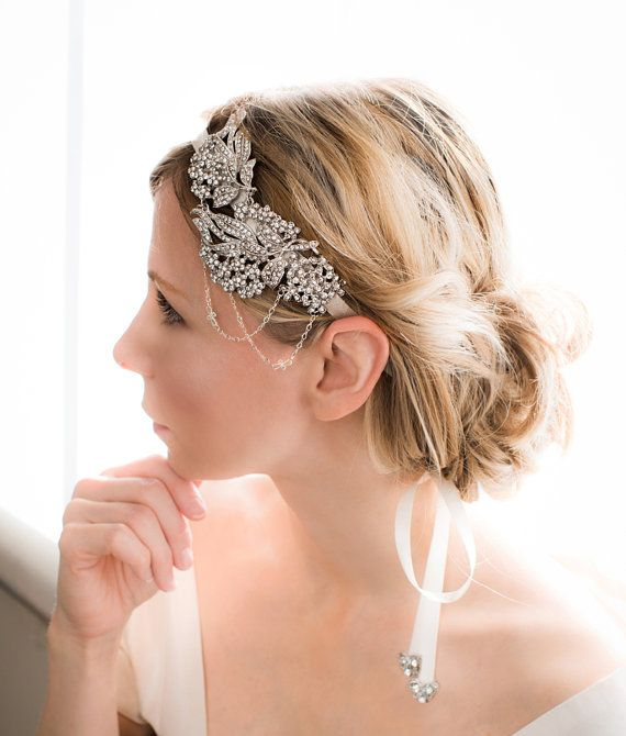 1920s Gatsby hairband, Vintage Bridal Rhinestone Headband, Bridal Ribbon Headband, Art Deco Bridal Headband, Vintage Style - AVA via Etsy