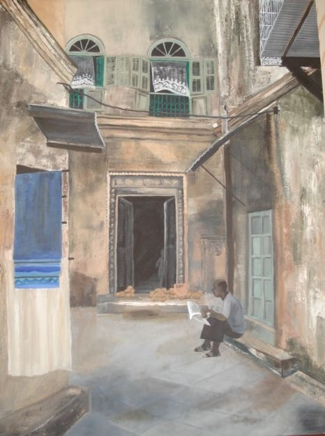 Oil painting of Indian Town House painted by Bernadette Gie