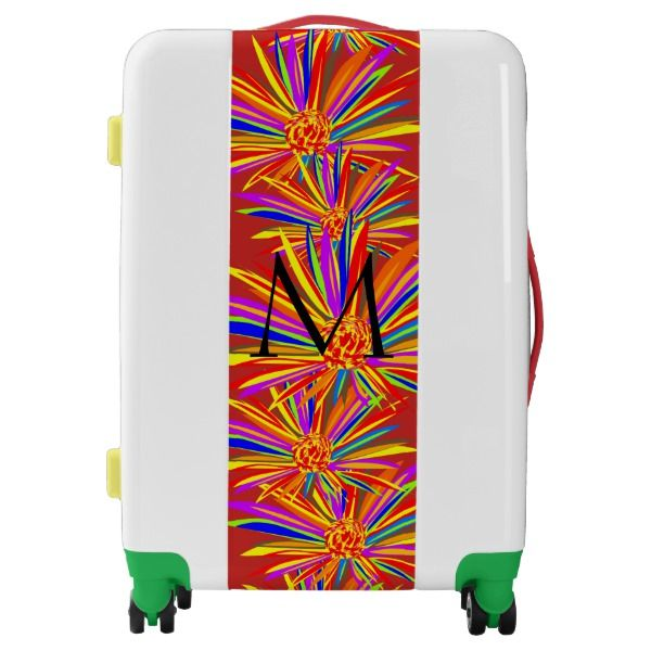 Monogrammed Tropical Floral Colorful Large Luggage.  Personalize it with your monogrammed initial.  Visit store for more sizes and styles!  One-of-a-kind suitcase.  Original Graphic Artwork by TamiraZDesigns www.zazzle.com/tamirazdesigns