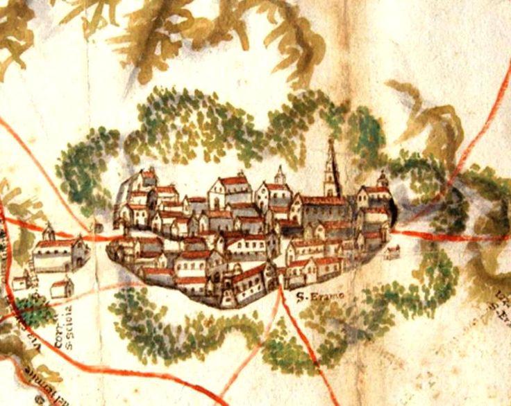 S. Eramo, sec. 16.-18: un pugno di case, di anime, circondate da boschi dove respiravano i lupi. Un'antica carta dal Fondo Caracciolo, Archivio di Stato di Bari.