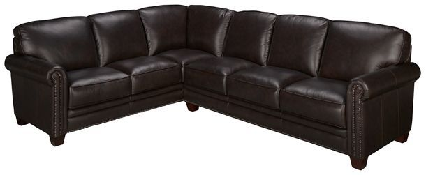 Futura Nailhead 2 Piece Leather Sectional | Leather