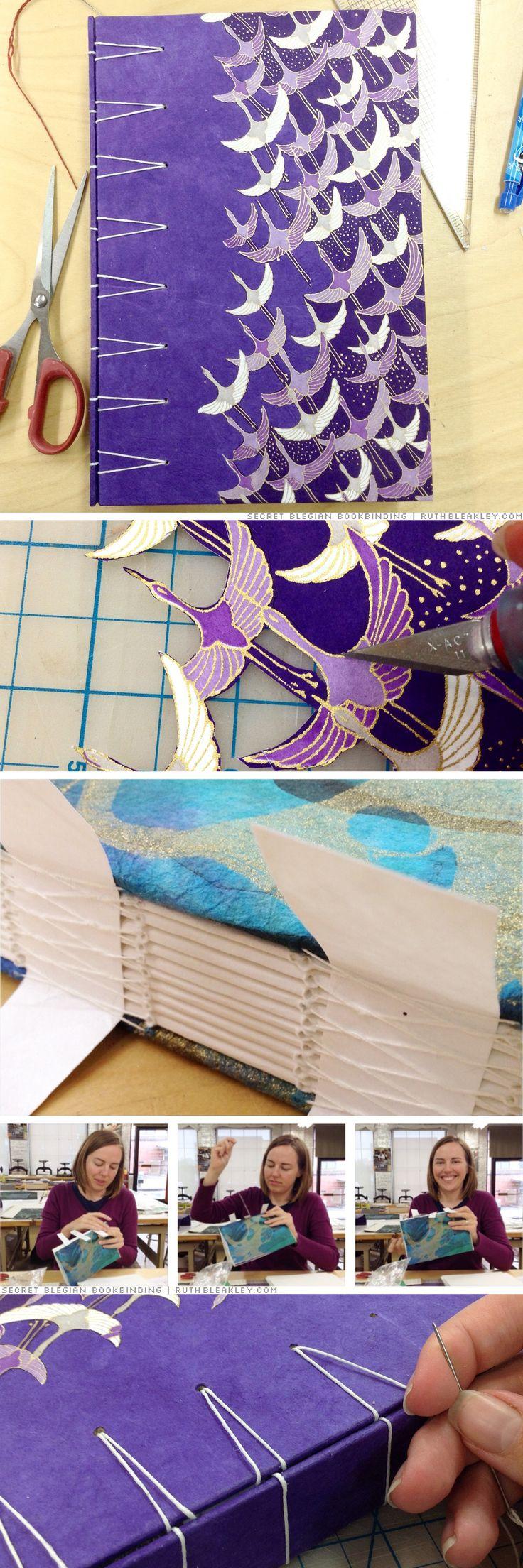 Secret Belgian Binding - purple cranes journal made in a workshop at Asheville Bookworks by Ruth Bleakley
