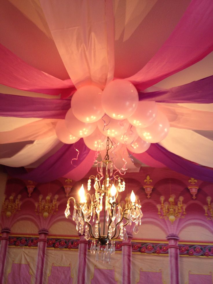 Plastic Table Cloth Ceiling decorations Pink purple princess party