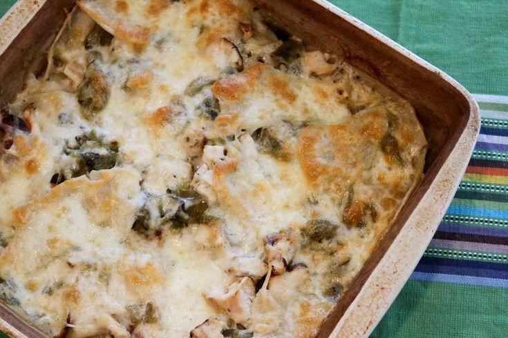 Hatch Green Chile Chicken Enchilada Casserole