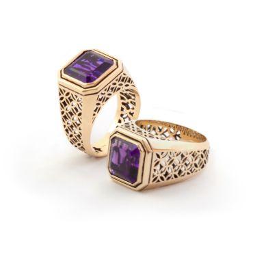 Gold & Emerald-cut Amethyst Ring. Geoff Mitchell design.