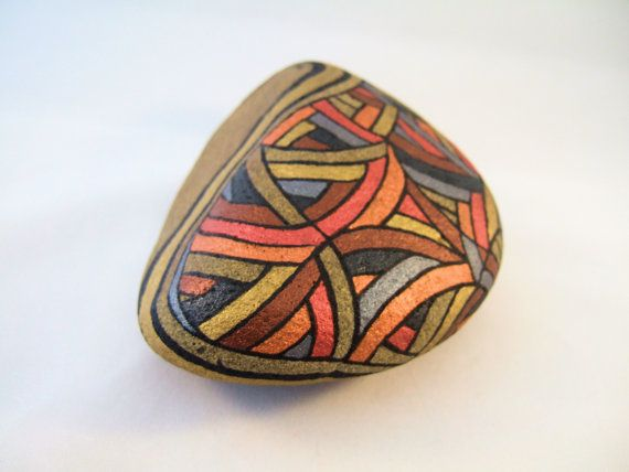 Painted Rock Unique OOAK Collectible Art for Home Office, 3D Art Object, Autumn Gold, Orange, Brown, Slate Blue, and Natural Beige Stone.