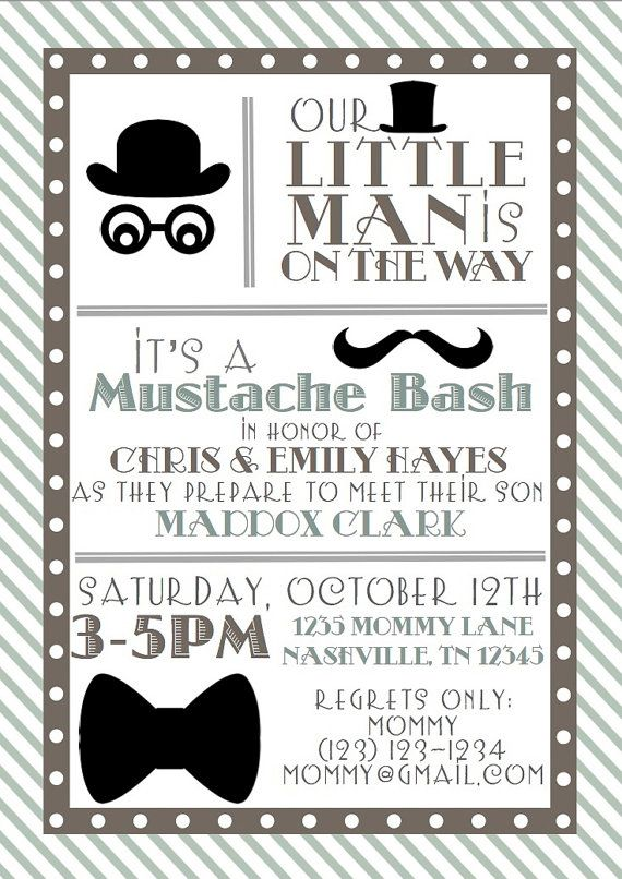 Baby Shower Little Man Printable Invitation And Thank You Note