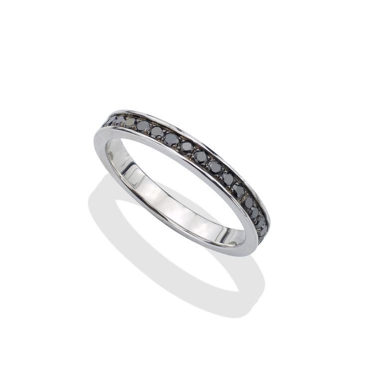Black Diamond & Silver Men's Eternity Ring