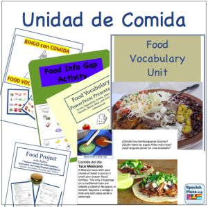 Comida Unit resources from Spanish Lessons