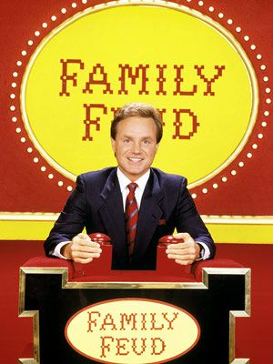 Family Feud - (1976-1985) Host: Richard Dawson, (1988-1994)Pic shown with  Host: Ray Combs, (1999-2002) Host: Louie Anderson, (2002-2005) Host: Richard Karn, (2006-2010) Host: John O' Hurley, (2010-12) Host: Steve Harvey