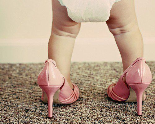 I can't wait till she's good enough at standing to do this!  I even have pink stillettos...