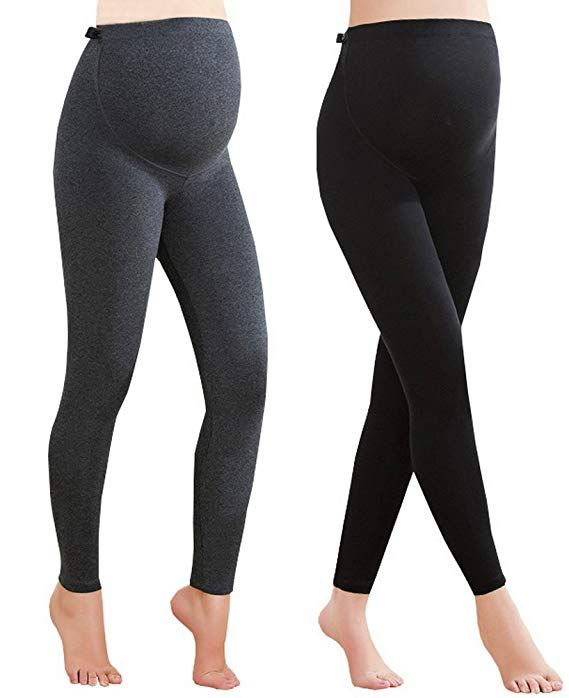 e754b7cef07dc Foucome Women's Over The Belly Super Soft Support Maternity Leggings,  Black&Gray, S/Label L #women #leggings #christmas #maternity