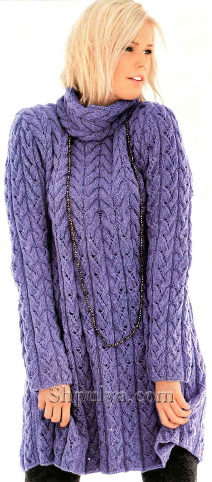 Сиреневое платье с узором из кос спицами