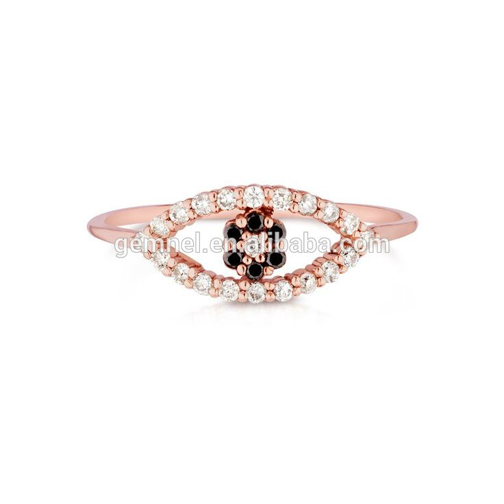Gemnel 2017 latest evil eye jewelery ring with black stone for women