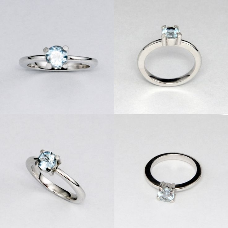 Anillo de compromiso. Oro blanco y agua marina | Joyas hechas a mano / Hand made jewelry | www.facebook.com/DeDiosas