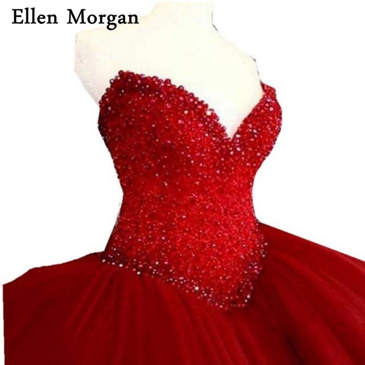 Elegant Red Quinceanera Dresses for Girls 2018 Cheap Sexy Sweetheart Tulle Stone Beautiful Debutante Sweet 15 Years Prom Gowns