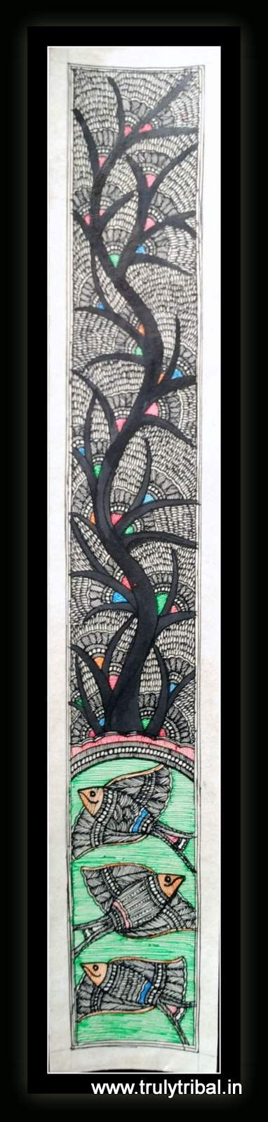 """""""This Black & White Madhubani has very intricate work, extremely fin details on Kadamb Tree along with classic motif of Fish. This Madhubani paintings is made by state Awardee artist on handmade paper by natural colours. Size: 8*26 inches"""""""