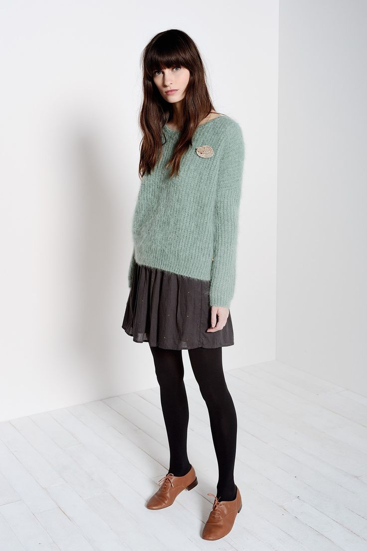 Pull Abrinou Végétal 85% Kid mohair 12% Laine 3% Polyamide - Jumper Woman - Des Petits Hauts 2 Clothing, Shoes & Jewelry - Women - women's dresses casual - http://amzn.to/2kVrLsu