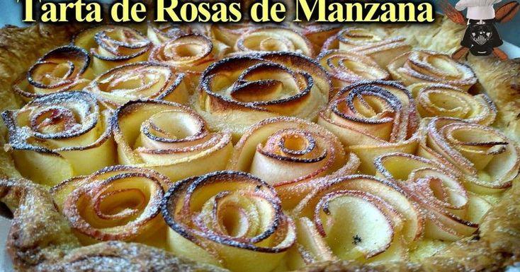 Tarta de manzana de decorada con rosas