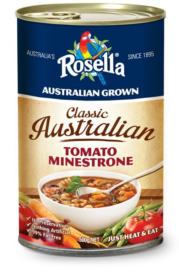 Classic Australian Tomato Minestrone Soup  The abundance of ingredients and vibrant colour tells you before you've even tasted; this is a superb, hearty soup that everyone will love. http://rosella.com.au/classic-australian-soups/tomato-minestrone/