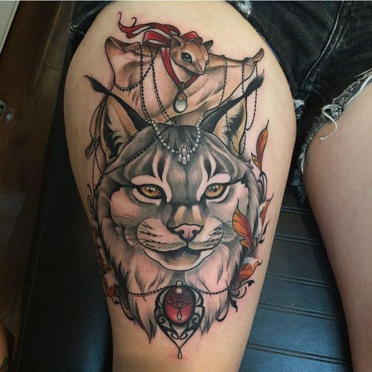 Bobcat lynx gray tattoo