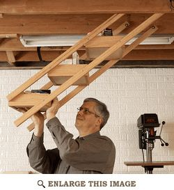 Overhead Swing-Down Shop Storage Woodworking Plan Cool. They swivel to stay upright