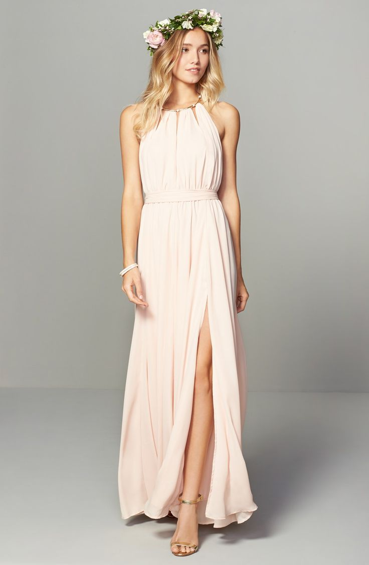 Pretty pink bridesmaid dresses for wedding parties and pink themed weddings.