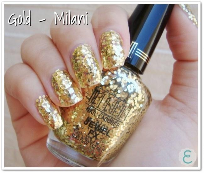 Unhas decoradas - Dourado com glitter ( Foto: Divulgação)