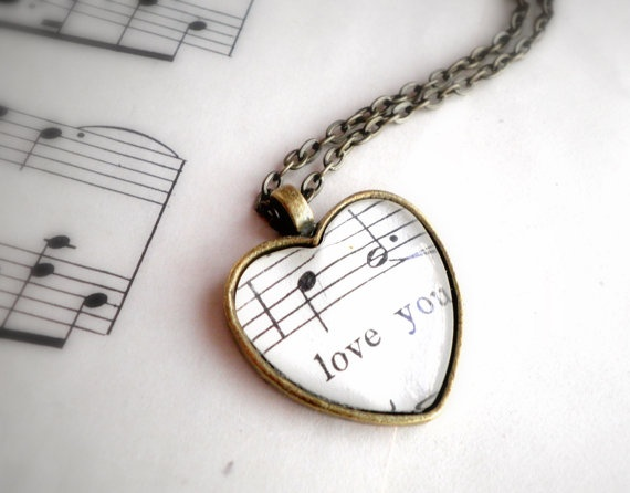 Sheet music necklace. Antiqued bronze pendant with real vintage sheet music under glass dome. Love you!