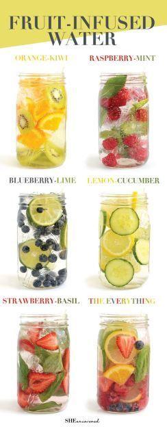 Te cuesta beber tu cuota de agua diaria?Ahora bebe más con estas deliciosas combinaciones de agua infusionada con frutas,verduras y hierbas:)